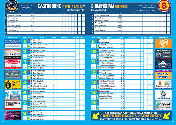 Eastbourne Eagles Racecard Sponsorship